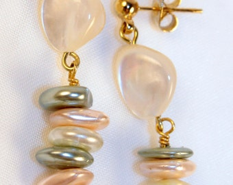 White natural shell and Glass shell jewelry, Gold post nickle free earrings