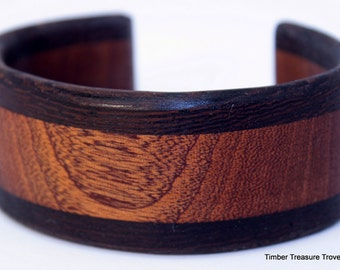Wooden Cuff Bracelet ~ Exotic Wenge with Sapele,  Cuff Style Bracelet ~ Custom order, Men cuff bracelet, For Women, bracelet, Wooden jewelry