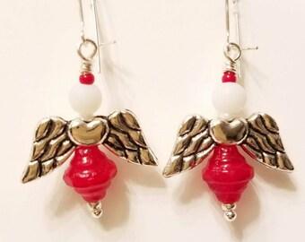 Angel Earrings, Fairy Earrings,  Red glass beads, White cats Eye bead, Silver plated wings, Silver post nickle free earrings