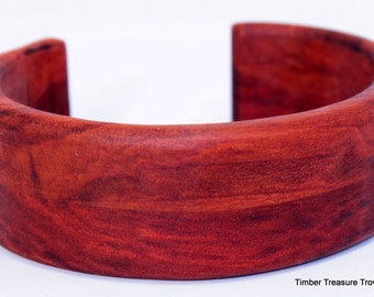 Wooden Cuff Bracelet ~ Red heart Wood, Cuff Style Bracelet ~ Custom order, Men's or Women's bracelet, Wooden jewelry