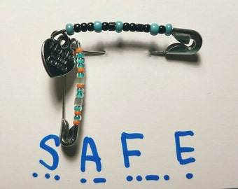 Safe, Safety Pin, Morse Code, Secret Message, Stand Against Bullying Jewelry, Safe With Me Jewelry, Free Shipping