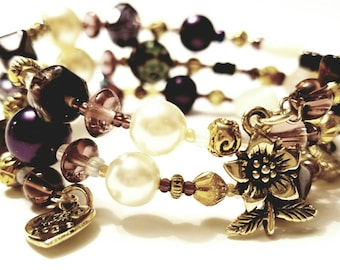 Deep purple and Pearl Beaded Memory Wire Bracelet, Gold plated beads, Fancy Flower charm
