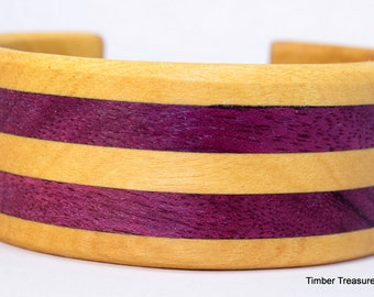 "Cuff Bracelet Yellow Heart and Purple Heart, exotic woods size s-m 6.5"" - 7"" wrist"