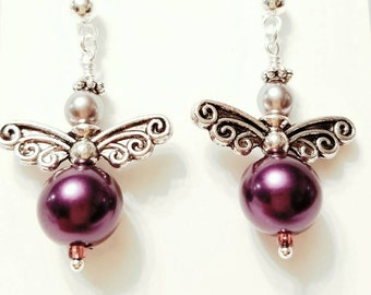 Angel Earrings, Fairy Earrings, Purple glass Swarovski pearls. Silver plated wings, Silver post nickle free earrings