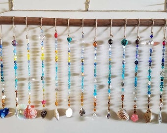 Beaded curtain, extra long, palm tree, turtles, shells, fish, prism, rainbow, flip flop, beach, sun catcher, art, bead curtain, door, window