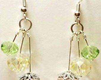 Crystal Chandelier Earrings, Formal Wear, Prom, Bride, Bride's Maids, Wedding, Dance, Date, pastel, green, Pink, Silver fish hook earring