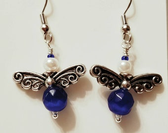 Angel Earrings, Fairy Earrings, Sapphire, September, Birthstone, Swarowski pearls, Silver plated wings, Silver post nickle free earrings