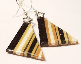 Black and White, Colored Pencil Earring, Colored Pencil Jewelry, Coloring Pencil Earrings, Colored Pencil Art, Wooden Jewelry, Fish hook