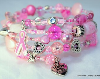 Awareness Ribbon, Support Ribbon, Cause Ribbon Jewelry, Handmade, Custom Order Memory Wire Bracelets,