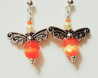 Angel Earrings, Fairy Earrings, Brilliant Orange catseyes, soft yellow glass pearls, Silver plated wings, Silver post nickle free earrings