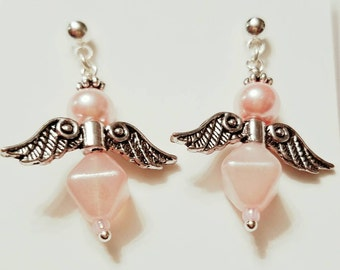 Angel Earrings, Fairy Earrings,  Pink Swarovski pearls,  glass beads. Silver plated wings, Silver post nickle free earrings