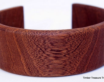 Wooden Cuff Bracelet ~ Exotic Sapele Cuff Style Bracelet ~ Custom order, Men's or Women's bracelet, Wooden jewelry