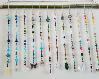 Beaded curtain, window, wall, palm tree, Rose Quartz, Amethyst, shells, turquoise, prism, rainbow, diamond, meditation, chakras, sun catcher