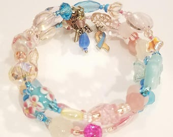 Personalized Bracelet, Awareness Ribbon, Beaded Jewelry, Grief Jewelry, Support Bracelet, custom bracelet, fashion, style, wearable art,