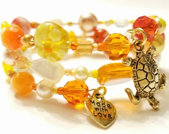 Orange, Dark orange and yellow Beaded Memory Wire Bracelet, Gold plated beads,  Golden turtle charm