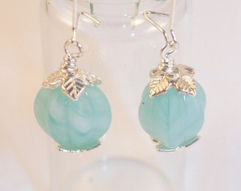 Light Aqua scalloped bead drop, small kidney earrings, hand twisted glass bead, Nickle free small kidney wire