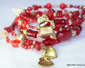 Red and Gold Beaded Memory Wire Bracelet, Friendship Bracelet