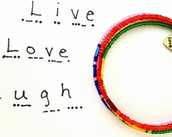 Live, Love, Laugh, Morse Code Bracelets, New Trending Bracelets, Secret Message Bracelet, Secret Code Jewelry, Dots and Dashes Jewelry