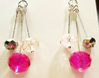 Crystal Chandelier Earrings, Formal Wear, Prom, Bride, Bride's Maids, Wedding, Dance, Date,Hot Pink, Silver, Pink, Silver fish hook earrings
