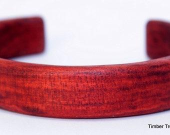 Wooden Cuff Bracelet ~  Petite, Red Heart Cuff Style Bracelet ~ Custom order, Men's, Women's, cuff bracelet, Wooden jewelry