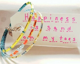 Happiness is sand on my toes, Custom Morse Code Bracelets, Statement Bracelet, Secret Message Jewelry, Summer Jewelry, magnetic clasp