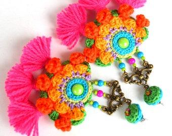 tassel earrings, pink tassel earrings, big earrings, large earrings, orange pink earrings, statement earrings, mexican wedding, frida kahlo