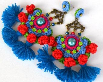 royal blue earrings, big blue earrings, red blue earrings, blue tassel earrings, oversized earrings, huge earrings,unique earrings