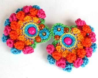 pom pom earrings, large earrings, colorful mexican earrings, ethnic jewellery, hippie earrings, bold statement earrings,crochet earrings