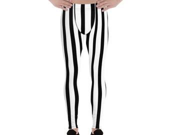 ce5024ec4cab3 Akimasa Black and White Vertical Striped Men's Running Leggings & Run Tights  Meggings Activewear-Made in USA(US Size: XS-3XL)Circus Leggings