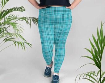 e0f813d3342 Kyoko Blue British Plaid Print Women s High Waist Long Yoga Pants Plus Size  Leggings-Made in USA(US Size XS-6XL)Blue Tartan Plaid Leggings