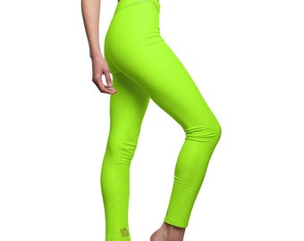e5a50ef9f1aa2a Miho Lime Neon Green Solid Color Women's Long Casual Leggings- Made in USA( US Size:XS-2XL)Neon Yellow Clothing,Neon Activewear Workout Pants