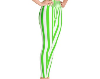 6f7f0f0f61ee9 Tohoku Women's Green & White Striped Long Yoga Tights, Plus Size,Vertical  Stripe Yoga Pants. High Waisted Cotton Leggings,Made in USA,XS-6XL