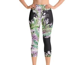 ffa8c444a80b46 Akiko Purple French Lavender Watercolor Print Fitness Floral Hot Yoga  Leggings, Capri Yoga Pants, Women's Activewear Yoga Wear,Made in USA