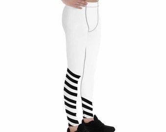 1f90818e00447 Banri Black and White Diagonally Striped Men's Running Leggings Run Tights  Meggings Activewear-Made in USA(Size:XS-3XL)Black White Leggings