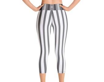 db9bd2f7f4cdc5 Hidemi Gray White Vertical Striped Print Capri Leggings, Capri Yoga Pants,  Yoga Leggings, Vertical Stripes Workout Pants, Made in USA, XS-XL