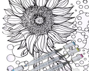 Sunflower Printable Adult Coloring Page