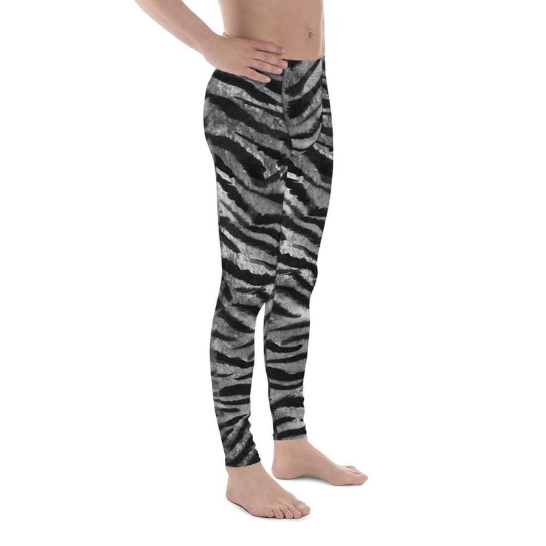 d5f66eb31ddab Kira Gray Tiger Stripe Men's Running Leggings & Run   Etsy