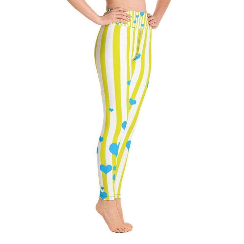 4e15345298e Shinjuku Women's Yellow White Striped Yoga Tights, Plus Size, Vertical  Stripe Yoga Pants. High Waisted Cotton Leggings, Made in USA, XS-6XL