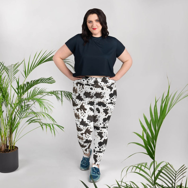 d9822a8753 Itsuko Cow Print Plus Size Women's Workout High Waist Yoga Pants Long  Leggings -Made in USA(US Size: XS-6XL),Cow Print Leggings,Cow Leggings