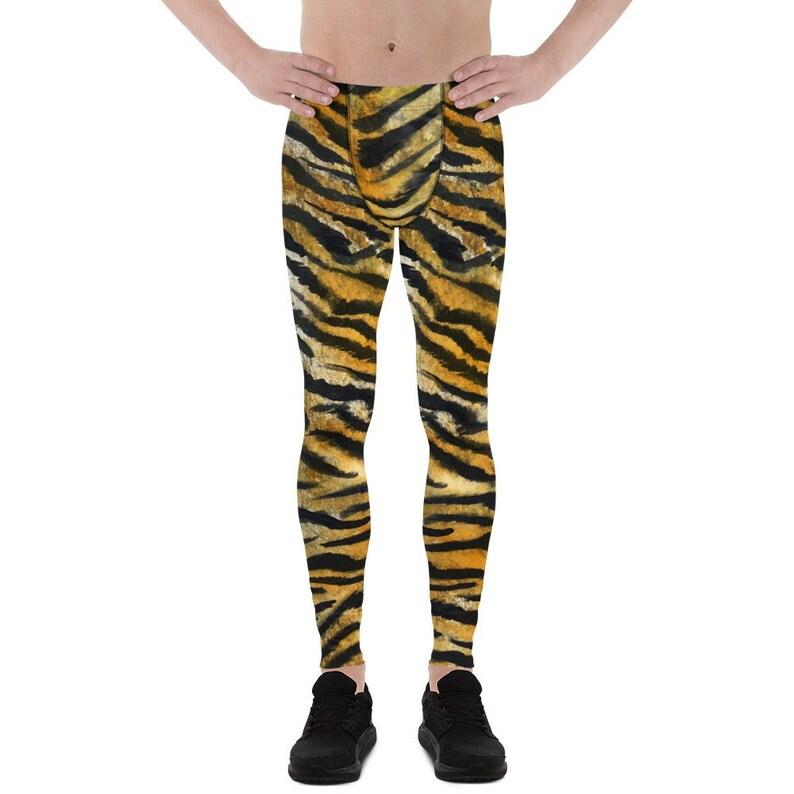 7badb36037a32 Shiro Orange Tiger Stripe Men's Running Leggings & Run   Etsy