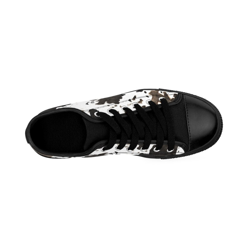 bc9490dcd182b Akifumi Cow Print White Brown Designer Men's Low Top Running Sneakers Shoes  (US Size: 7-14), Fashion Sneakers, Cow Print Shoes, Moo Cow Shoe