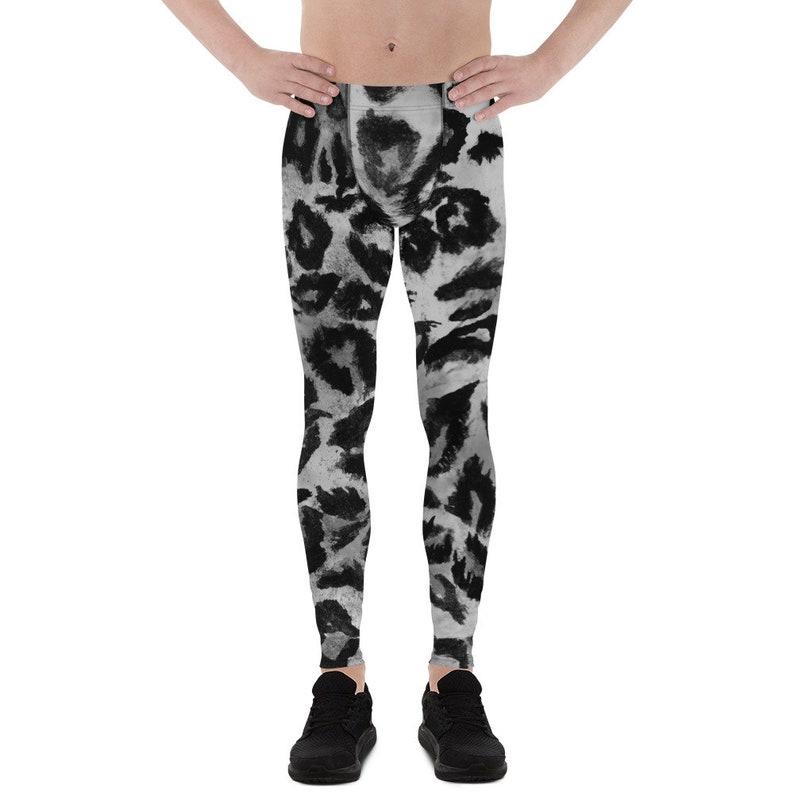 73e815b12e3 Kare Gray Leopard Print Men s Yoga Pants Running Leggings