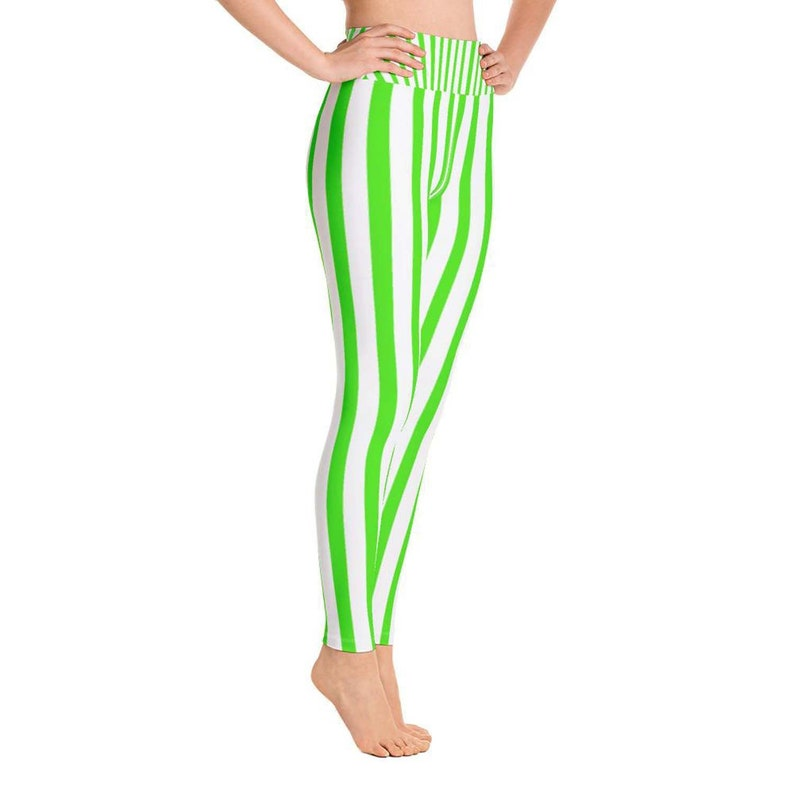 7523117f43636 Tohoku Women's Green & White Striped Long Yoga Tights | Etsy