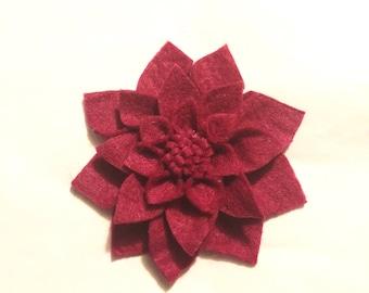 Wool felt dahlia brooch Mother's Day gift flower pin