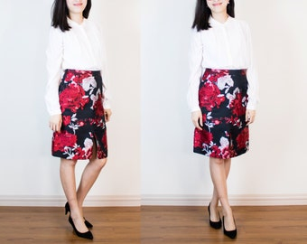 Ava A-line Skirt with Front-Slit in Floral Brocade