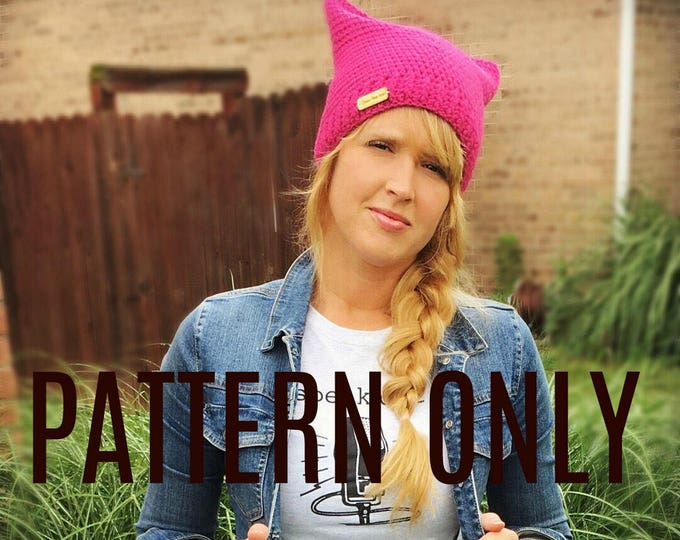 Take a Stand Crochet Beanie Pattern, Pussyhat pattern, crochet cat hat pattern, crochet pattern, crochet hat