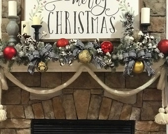 It's Looking A Lot Like Christmas Decorative Garland, Crochet Christmas Garland, Fireplace Garland,  Yarn Garland, Garland