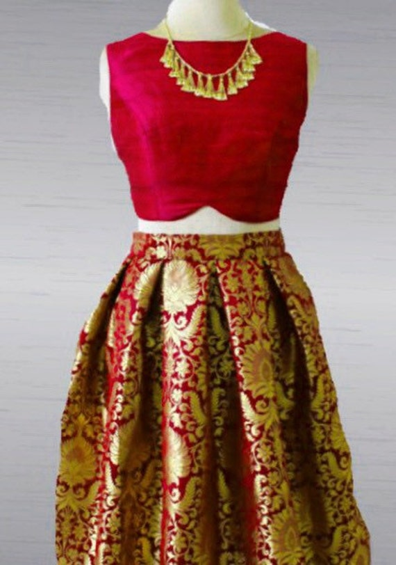 580c5c3c17e7fe Brocade skirt and Raw silk crop top