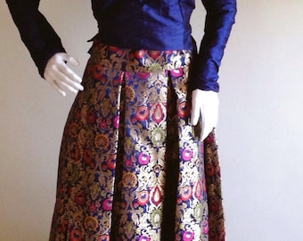 Multi color Brocade skirt and Raw silk crop top available in custom colors