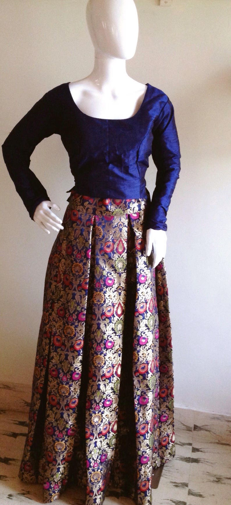 1bc97857fb6d63 Multi color Brocade skirt and Raw silk crop top available in | Etsy